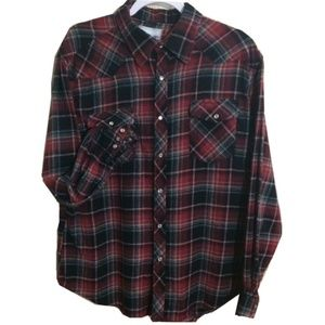 Vintage | Red Plaid Flannel Pearl Snap Shirt